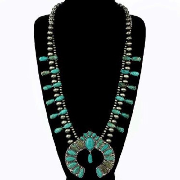 ISAC Jewelry - Turquoise Natural Stone Squash Blossom Necklace